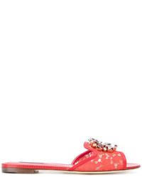 rote flache Sandalen aus Leder von Dolce & Gabbana
