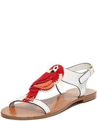 rote flache Sandalen aus Leder von Kate Spade
