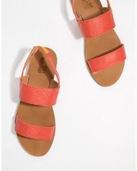 rote flache Sandalen aus Leder von Love Moschino