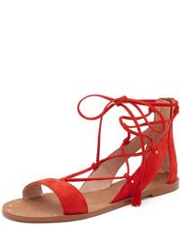 rote flache Sandalen aus Wildleder