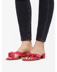 rote flache Sandalen aus Wildleder von Bianco