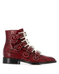 rote flache Stiefel mit einer Schnürung aus Leder mit Schlangenmuster von Givenchy