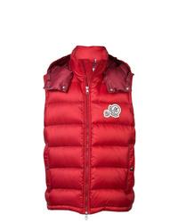 rote gesteppte ärmellose Jacke von Moncler