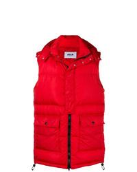 rote gesteppte ärmellose Jacke von MSGM