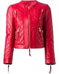 rote gesteppte Leder Bikerjacke von Moschino