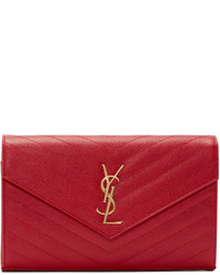 rote gesteppte Leder Clutch von Saint Laurent