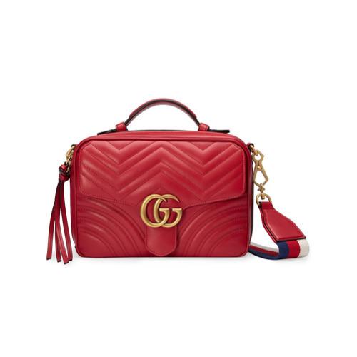 rote gesteppte Leder Umhängetasche von Gucci