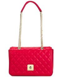 rote gesteppte Leder Umhängetasche von Love Moschino