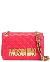 rote gesteppte Leder Umhängetasche von Moschino