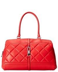 rote gesteppte Satchel-Tasche aus Leder