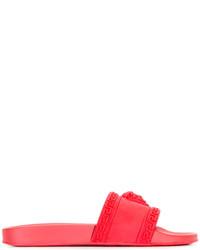 rote Gummi Zehensandalen von Versace