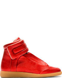 rote hohe Sneakers aus Leder von Maison Martin Margiela