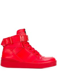 rote hohe Sneakers aus Leder von Moschino