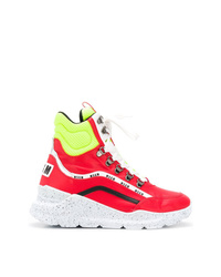 rote hohe Sneakers aus Leder von MSGM