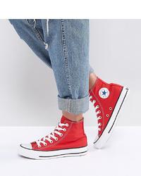 Modische rote hohe Sneakers aus Segeltuch für Damen für