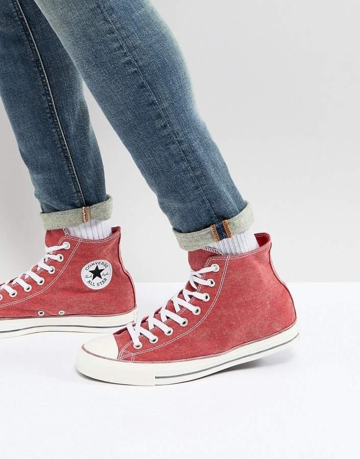 rote hohe Sneakers aus Segeltuch von Converse