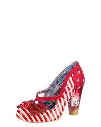 rote horizontal gestreifte Leder Pumps von Irregular Choice