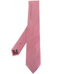 rote horizontal gestreifte Seidekrawatte von Giorgio Armani