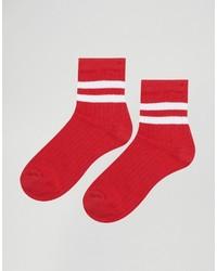 rote horizontal gestreifte Socken von Asos