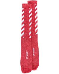 rote horizontal gestreifte Socken von Off-White
