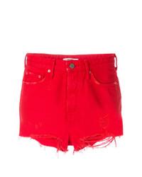 rote Jeansshorts mit Destroyed-Effekten von Grlfrnd