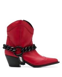 rote klobige Leder Stiefeletten von MSGM