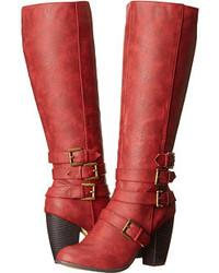 rote kniehohe Stiefel aus Leder