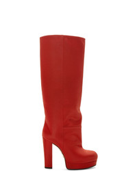 rote kniehohe Stiefel aus Leder von Gucci