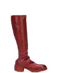 rote kniehohe Stiefel aus Leder von Guidi