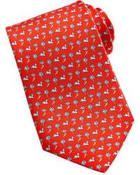 rote Krawatte mit Blumenmuster