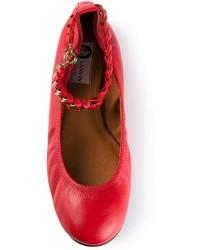 rote Leder Ballerinas