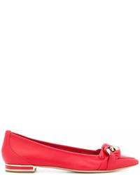 rote Leder Ballerinas von Casadei