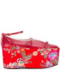 rote Leder Ballerinas von Gucci