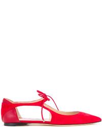 rote Leder Ballerinas von Jimmy Choo