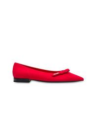 rote Leder Ballerinas von Prada