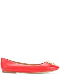rote Leder Ballerinas von Tory Burch
