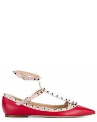 rote Leder Ballerinas von Valentino