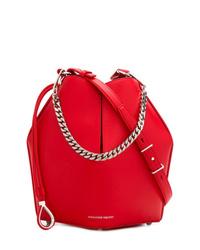 rote Leder Beuteltasche von Alexander McQueen