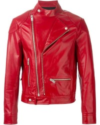 rote Leder Bikerjacke