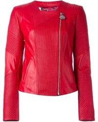 Rote Leder Bikerjacke von Philipp Plein