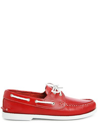 rote Leder Bootsschuhe