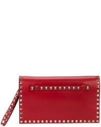 rote Leder Clutch von Valentino Garavani
