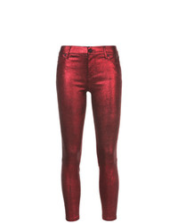 rote Leder enge Jeans von RtA