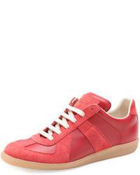 rote Leder Niedrige Sneakers