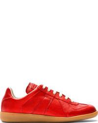 rote Leder niedrige Sneakers von Maison Martin Margiela