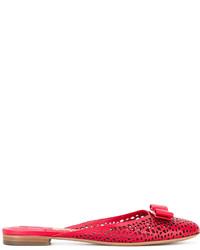 rote Leder Pantoletten von Salvatore Ferragamo