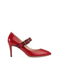 rote Leder Pumps von Gucci