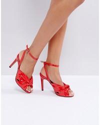 rote Leder Sandaletten von ASOS DESIGN