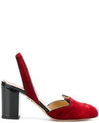 rote Leder Sandaletten von Charlotte Olympia