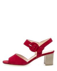 rote Leder Sandaletten von Gabor